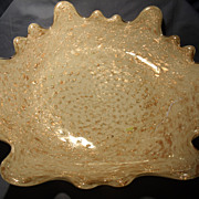 "12"" White and Adventurine  Scalloped Bowl"
