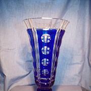 "Val St Lambert 10"" Cobalt/Clear Vase"