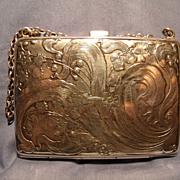 Art Nouveau Peacock Design Sterling  Purse