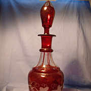 Bohemian Flashed and Engraved Decanter.