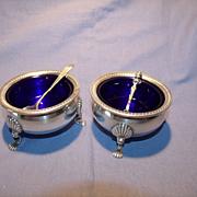 Pr Sterling & Cobalt Salts & Spoons