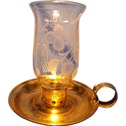 Brecknell Turner & Sons Brass and Engraved Glass Candle Lamp