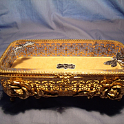 Stylebuilt Gold Plated Filigree and Glass Box