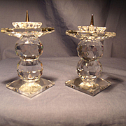 Pair Swarovski Double Ball Pin Candleholders
