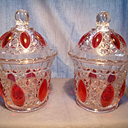 "Pair of Ruby Overlay ""Oregon"" Pattern Jars"