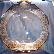 "12"" Crystal and Sterling Basket Tray"