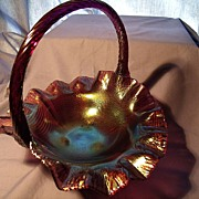 Fenton Footed Basket in Aubergine Stretch Glass