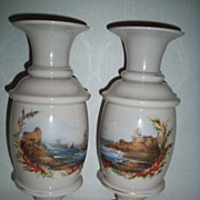 "Pair 12"" Opal Glass Vases with Hand Painted Seascapes"