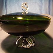 Aseda Swedish Crystal Covered Candy Bowl circa 1963
