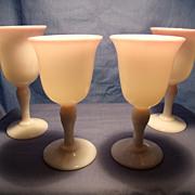 4 Gunderson Pairpoint Peachblow Wine Stems