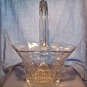 Heisey Banded Picket Crystal Basket.