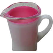 SOLD Fenton 1940's Pink Milk Glass Peach Crest Creamer Pitcher