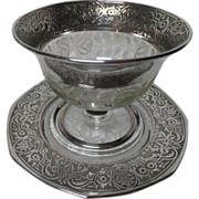 SOLD Exquisite Sterling Silver & Etched Glass Compote & Underplate