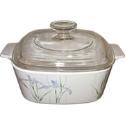 SOLD Vintage Corning Ware Purple Iris Pyrex Casserole Dish & Lid