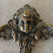 REDUCED Vintage Turn of the Century Brass Hook Cherub