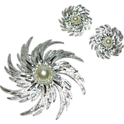 SALE Sarah Coventry Pinwheel Pin and Earrings