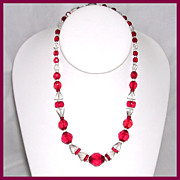 Red Czech Beaded Necklace