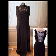 Vintage Black and Rhinestones Evening Dress