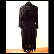 SALE 1940s Basic Black Day Dress
