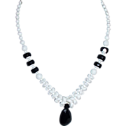 REDUCED Black and White Czech Glass Necklace