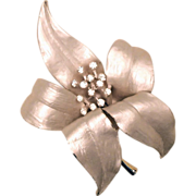 REDUCED Silvery White Dimensional Flower Brooch