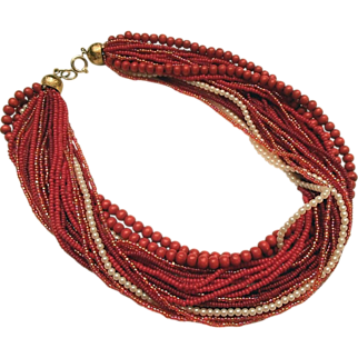 REDUCED 1960s Red Beaded Necklace