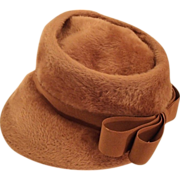 REDUCED Furred Felt Ladies Hat, c. 1945 - 1950