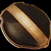 REDUCED Black Enamel Elgin American Vintage Compact