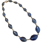 REDUCED 1940s Deep Blue Crystal Necklace