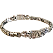 REDUCED Signed Trifari Deco Rhinestone Line Bracelet