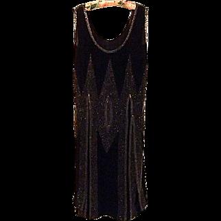 REDUCED Black Crepe Chiffon Hand Beaded Flapper Dress, c. 1925
