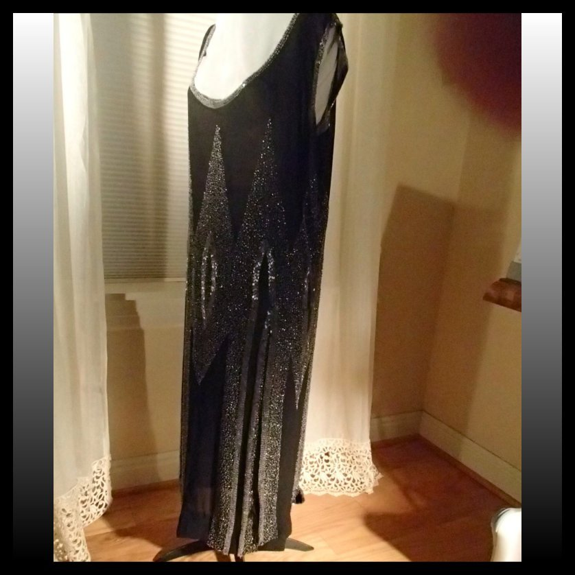 Black Crepe Chiffon Hand Beaded Flapper Dress, c. 1925 from ...