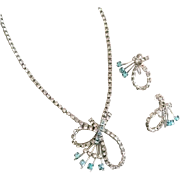 Necklace and Earrings Set in Clear and Aqua Color Rhinestones