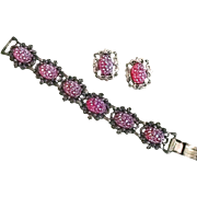 Bracelet and Earring Set in Iridescent Pink