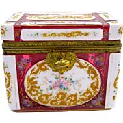 RARE Bohemian 19th Century red and white overlay enamelled casket