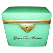 French circa 1860 Green Opaline Casket