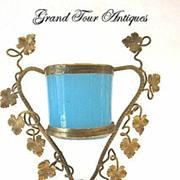 SOLD French Napoleon III Blue Opaline Vase