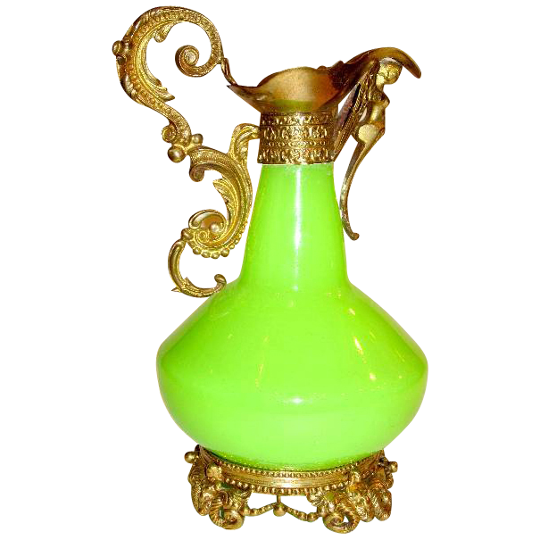 Palais Royal Green Opaline Glass Ewer with Dore Bronze Mounts circa 1860