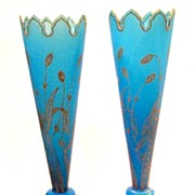 SOLD Pair French 19th Century Blue Opaline Vases