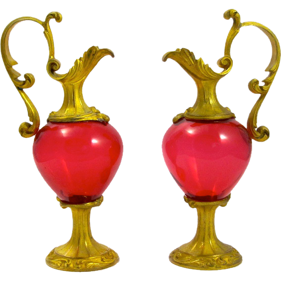 A Pair of Antique French Red Crystal  Glass & Dore Bronze Vases