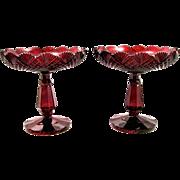 Pair Antique Bohemian Ruby Red Cut Glass Tazza Bowls