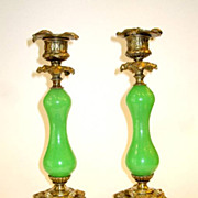 SOLD Pair French 19th Century Green Opaline Glass and Bronze candlesticks