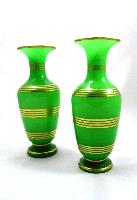 A Pair of French 19th Century BACCARAT green opaline glass vases.