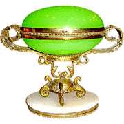 A French 19th Century Green Opaline Glass Egg Box