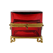 Antique Miniature French Ruby Red Glass Casket