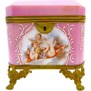 Antique French Pink Opaline Glass Casket