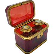 Antique French Ruby Red Glass Scent Casket Box