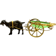 SOLD Palais Royal Green Opaline Goat Cart - Red Tag Sale Item