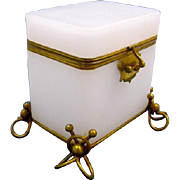 Antique French White Opaline Glass Casket with Intricate Feet