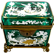 Unusual  Antique French 19th Century Emerald Green  Casket.